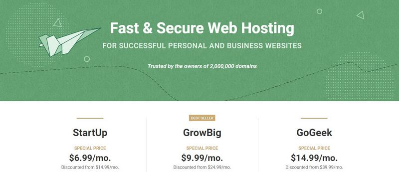 Screenshot of Siteground's shared hosting pricing