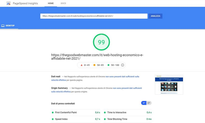 Google PageSpeed results page